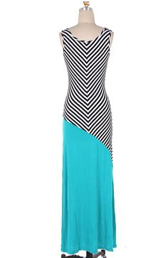 $34  This maxi dress combines black and white striping with teal color blocking.  MAXI DRESS 95% RAYON 5% SPAN
