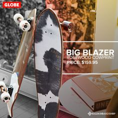 "The Big Blazer in rosewood cowprint is a GLOBE medium length diamond-tail cruiser with built-in bottle opener and soft cruiser wheels. It is available in size 32"" x 9.125"" x 17.75""WB and is made of rosewood + hard rock maple with a mellow concave and a kick tail. Available with a 6.0"" tensor alloy truck and 62mm 78a wheels, get this cool cruiser now at @originboardshop  #globebrand #globeskateboarding #globeskateboards #globecruiser #skater #skateboarding #skatetricks #skatelife #skateshop Complete Skateboards, Cow Print, Concave, Skateboarding, Hard Rock, Bottle Opener, Kicks, Truck, Skateboard"
