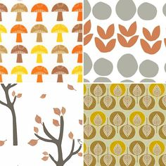 Autumn fabric picks from Mollie Makes, swatch, repeat, pattern, print, design, wrap, nature, leaves, colour pallet
