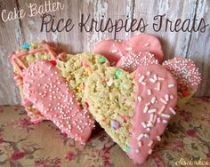 Cake Batter Rice Krispies Treat Hearts. Sounds dangerous...
