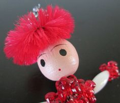 Bead Vintage Diva Lady Ice Skater Red and White Tinsel Skates Christmas Ornament, $10.00