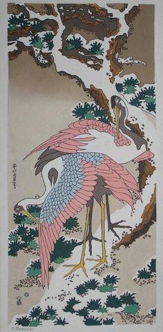 Hokusai - Two cranes on a snowy pine