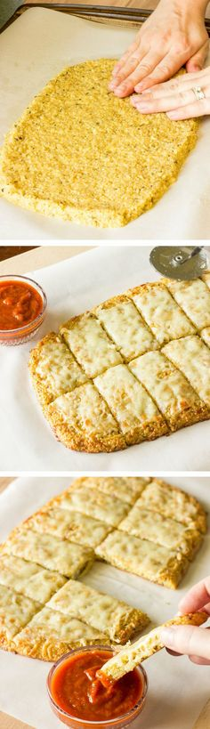 Quinoa Crust for Pizza or Cheesy Garlic 'Bread' ~ This recipe is innovation. Quinoa crust can be used for pizza or cheesy garlic 'bread' as an alternative for traditional dough.
