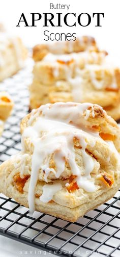 Buttery Flaky Apricot Scones A light flaky buttery scone layered with chopped apricots and iced with an almond flavored glaze. Buttery Flaky Apricot Scones A light flaky buttery scone layered with chopped apricots and iced with an almond flavored glaze. Apricot Scones Recipe, Apricot Recipes, Sweet Scones Recipe, Best Scone Recipe, Brunch Recipes, Breakfast Recipes, Dessert Recipes, Scone Recipes, Breakfast Scones
