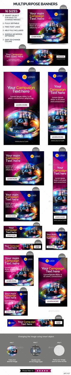 Multipurpose Web Banners Template PSD #design #ads Download: http://graphicriver.net/item/multipurpose-banners/13240585?ref=ksioks