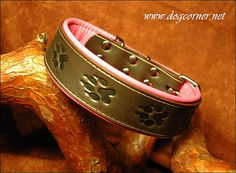 """brown leather dog collar """"paws"""" - Etsy $50"""