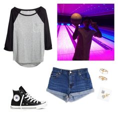 """""""Bowling with Justin"""" by paradise19t ❤ liked on Polyvore featuring H&M, Converse, Levi's and Bing Bang"""