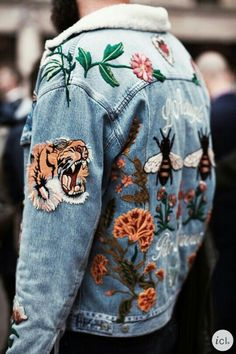 Patched jean jacket.  #patches #jeanjacket #embroidery #streetwear