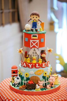 What an incredible cake at a farm birthday party! See more party ideas at CatchMyParty.com!