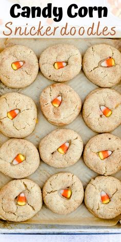 These Candy Corn Snickerdoodles are thick like a classic snickerdoodle cookie with a chewy bite from candy corn. The easy recipe is unique, requires no chilling, and comes together in around 30 minutes. Perfect for Halloween cookie baking! #halloweencookie #fallbaking #candycorn #dessert