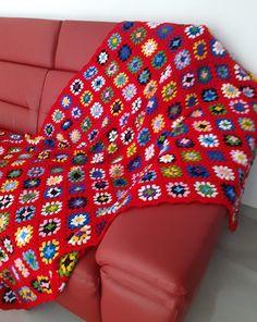 Blanket, Vintage, Crochet, Handmade, Scrappy Quilts, Mantas Crochet, Red, Hand Made, Ganchillo