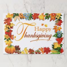 Happy thanksgiving to you and your familyankful for youlove you elegant happy thanksgiving greetings paper placemat m4hsunfo
