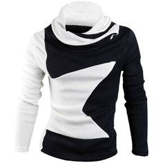 Men Cowl Neck Pullover Star Pattern Color Block Elastic Knit Shirt ($19) ❤ liked on Polyvore featuring men's fashion, men's clothing, men's shirts, men's casual shirts, mens star print shirt, men's color block shirt, mens pullover shirts, mens pullover and mens star t shirt