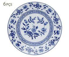 Conjunto de pratos rasos maria flor de cobalto - 27cm