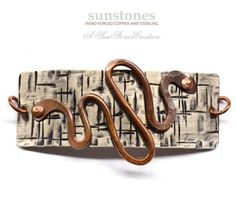 Hand Forged Mixed Metal Bracelet Focal Component  by SunStones