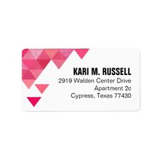 Geometric Triangles Mailing | fuschia hot pink Personalized Address Label