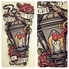 Lamp Tattoo, Lantern Tattoo, 1 Tattoo, Back Tattoos, Body Art Tattoos, Sleeve Tattoos, Traditional Style Tattoo, Traditional Sleeve, Tattoo Sketches
