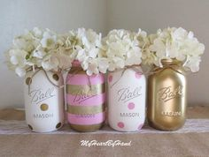 Pink and Gold Baby Shower Decorations, Baby Shower Mason Jars, Pink and Gold Bridal Shower, Distressed Mason Jars, Polka Dots Party Decor by MyHeartByHand on Etsy https://www.etsy.com/listing/272982854/pink-and-gold-baby-shower-decorations