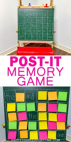 Post-it Memory Game – HAPPY TODDLER PLAYTIME Memory games are an amazing way to improve concentration and cognitive skills in preschoolers! Here is a fun twist on the classic memory game using post-it notes! #preschooler #kindergarten #sightwords