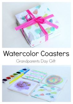 DIY Water color coasters Grandparents Day Gift