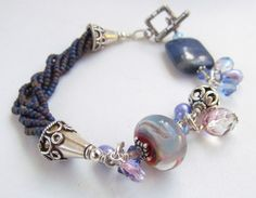 Lampwork Beaded Bracelet Handmade by Harleypaws by Harleypaws, $120.00