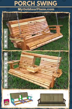 DIY Porch Swing PlansThanks for this post.This step by step diy woodworking project is about a porch swing with center console plans. I have designed this porch swing with center console with cupholders, as a add up to my already p# DIY Woodworking Furniture, Woodworking Projects Plans, Pallet Furniture, Diy Woodworking, Woodworking Plans Porch Swing, Outdoor Furniture Plans, Woodworking Chisels, Furniture Nyc, Woodworking Magazine