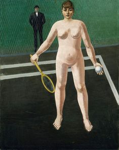 The Tennis Player by Anton Räderscheidt. Anton, Image Fun, The Spectator, Woman Standing, Male Figure, Renoir, Tennis Players, Looking For Women, Oil On Canvas