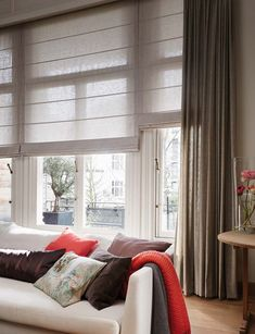 I like the sheer cellular blinds for privacy and energy efficiency Neutral Duette living room blinds. Neutral home decor. Contemporary neutral colour inspiration for the living room. Living Room Blinds, House Blinds, Living Room Windows, Home Living Room, Home Curtains, Curtains With Blinds, Window Sheers, Roman Blinds, Honeycomb Blinds