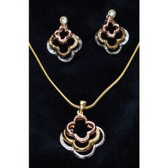 Designer tricolor white, gold & copper CZ studded pendent set  - Online Shopping for Necklaces by Ami Designs