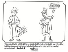 kids coloring page from whats in the bible featuring isaiah and king ahaz from isaiah