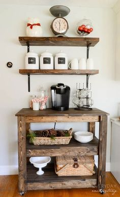 coffee bar ideas | If you're into rustic farmhouse, this coffee and tea bar makes a ... Coffee Bars In Kitchen, Kitchen Cart, Coffee Cups, Beats, Coffee Mugs, Kitchen Carts, Coffeecup
