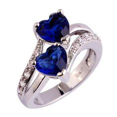 Blue Sapphire Quartz 18 K White Gold Plated Silver Ring