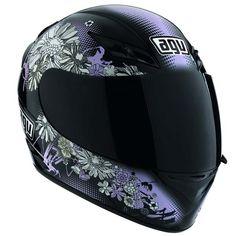 Capacete AGV K-3 Fleurs Black Feminino - Ganhe Balaclava - Nova Suzuki - Motos - Peças e Acessórios pra Você e sua Moto!