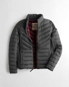 Designer Clothes, Shoes & Bags for Women Puffer Jackets, Winter Jackets, Outerwear Jackets, Lightweight Jacket, Gray Jacket, Hollister, Polyvore, Stuff To Buy, Shopping