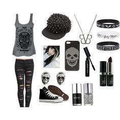 Black Veil Brides/Emo/Gothic by harlec8king on Polyvore featuring BLANKNYC, Converse, King Baby Studio, 2Me Style, Bobbi Brown Cosmetics and Nails Inc.