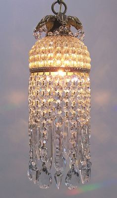 Please do not purchase ~ this is spoken for :)    This incredibly beautiful pendant chandelier is created from an antique Czech glass beaded dome