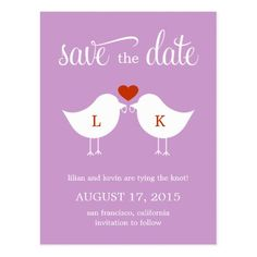 Love Birds Wedding Save the Date Monogram Birds Save The Date Card