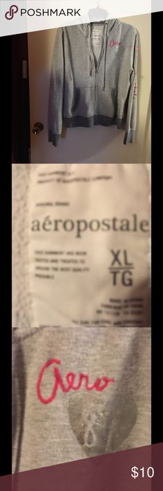 Aeropostale Hoodie XL 🌺🌺🌺🌺 This is a really nice hoodie from Aeropostale it is gray and has pink lettering on it & it is in excellent condition size extra-large it has the word Aeropostale logo down one of the arms and on the front Aeropostale Jackets & Coats