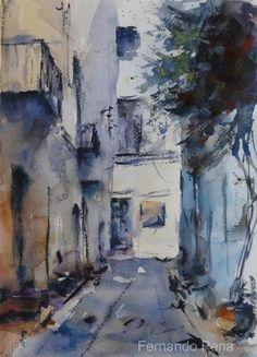 Fernando Pena  De los callejones blancos, invadidos por el color #acuarela #watercolor 36 x 26 cm