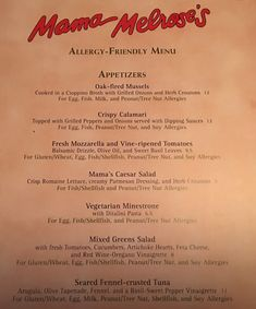 Mama Melrose Allergy Friendly  Lunch and Dinner Menu