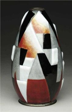 French Art Deco: Enameled Vase by Camille Faure. Limoges, France, 1920s.