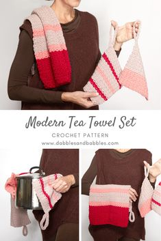 Crochet Pattern - Modern Tea Towel Set: I bet you'll make lots of this set! It's pink and definitely useful! This could be the most overused set of crochet piece you'll ever make! Save the free pattern we made for you. Click the link now. All Free Crochet, Cute Crochet, Easy Crochet, Knit Crochet, Crochet Towel, Crochet Potholders, Crochet Projects, Crochet Tutorials, Crochet Ideas