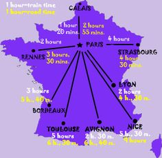 Consult this detailed map of France, which is ideal for planning your trips throughout France between the major French cities. The map displays travel times both by train and by road. Get help planning your France travel itinerary with this map of France travel times.