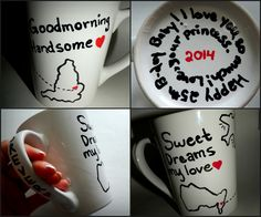 For my man's birthday I DIY'd him this mug along with lots of teas and a tea steeper and latte whip (after buying a ticket to fly to England to surprise him for said birthday I was… Sharpie Markers, Diy Sharpie Mug, Presents For Boyfriend, Boyfriend Gifts, Long Distance Mugs, Sweet Dreams My Love, Ldr Gifts, Surprise Gifts For Him, Diy Presents