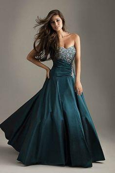 A-Linie Herz-Ausschnitt Dunkelblaugrün natürliche Taille Taft schlichtes  bodenlanges Abendkleid Modische Kleider, 6071308a09
