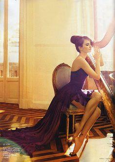 penelope cruz by Annie Leibovitz-Beautiful, I wish I knew how to play the Harp! :)