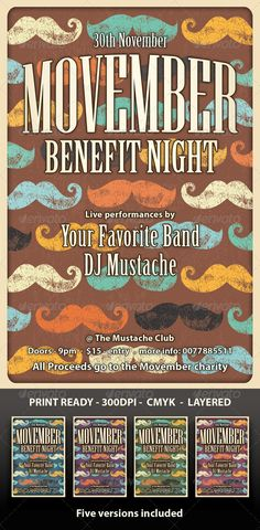 Movember Flyer by Jeremy Child. To download click here - http://graphicriver.net/item/movember-flyer-retro/5812739?WT.ac=portfolio&WT.seg_1=portfolio&WT.z_author=JRChild&ref=JRChild