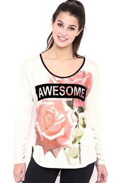 Deb Shops Long Sleeve Floral Top with Awesome Screen $10.75