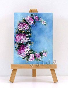 Designing With Flowers. 3x4 miniature oil painting