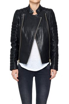Leather Jacket with Gold Details